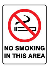 Poly Prop Safety Sign 300 x 225mm NO SMOKING IN THIS AREA
