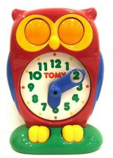 Vintage Tomy Owl Clock 1990 Educational Learning Time Teaching Homeschool Works