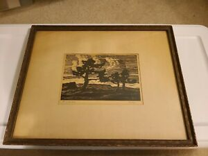 "Birger Sandzen Signed Block Print ""Evening"" has provenance and original Label"