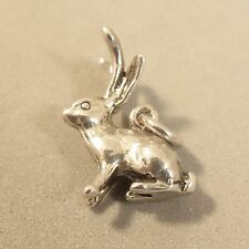 .925 Sterling Silver 3-D JACKALOPE CHARM NEW Rabbit Horns Pendant 925 AN103