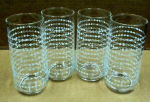 Vtg Set Lot/4 CLEAR GLASS Tumblers Drinking Glasses WHITE DOT STRIPES