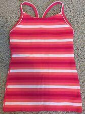 Lululemon Women's SZ 6 Small Pink Tank Ujjayi Y Tank White Stripes Sleeveless