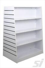 Freestanding Slatwall Trapezium Gondola Retail Store Shelving Display - White