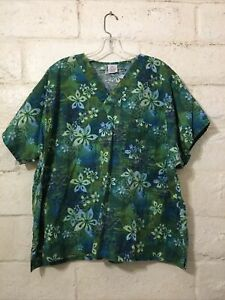 """Simply Comfortable Really Unique Basic Scrubs Green """"Floral"""" Print Top Size 2XL"""