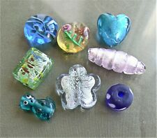 Large Lampwork Glass Beads Focal Mix 8 Heart Flower Cat Cocoon Rondelle Rose