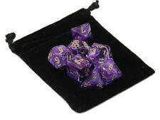 New Chessex Polyhedral Dice with Bag Purple Vortex 7 Piece Set Swirl DnD RPG