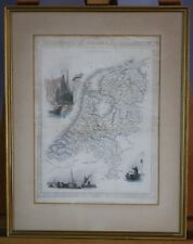Vintage Original Antique 1850 Map Of Holland Netherlands Rapkin & Tallis