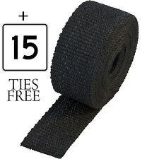 30 Meter Heat Rap+ 15 FREE TIES Exhaust Manifold Header Downpipe Black  RAP TAPE