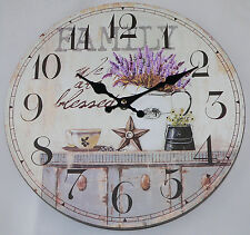 Large Vintage Rustic Cream French Wall Clock-Kitchen Shabby Chic Retro - FAMILY