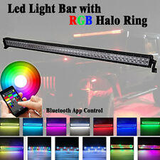 "50""inch 288W LED Light Bar w/ RGB Halo MultiColor Chasing Music Strobe Bluetooth"