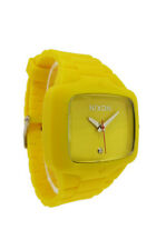 Nixon A139 250 Rubber Player: Men's Yellow Rectangular Clear Stone Analog Watch