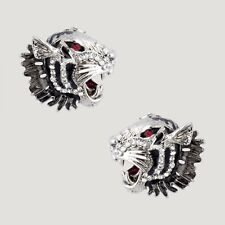 Butler and Wilson Crystal Tiger Heads Stud Earrings Silver Tone New