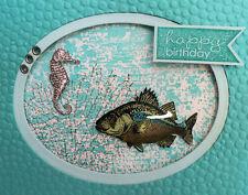 Handmade 3D Greeting Card - Birthday, Thanks,Ocean, Beach, Seahorse, fish, shell