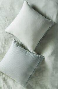 "Anthropologie Euro Sham Reversible Airy Cotton Gauze Mint Green 26"" Sq NIP"