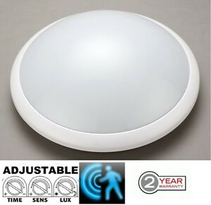 IP44 Microwave Motion Sensor Detector Bulkhead Light ES E27 Fitting White Case