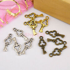 45Pcs Tibetan Silver,Gold,Bronze Tiny Key Charm Pendants Drops 6.5x16mm M1123