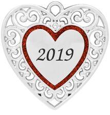 Mini 2019 Heart Harvey Lewis Silver Ornament w/ Crystals From Swarovski
