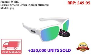 RayZor White Sports Wrap Sunglasses Uv400 Green Mirrored Lens (424)