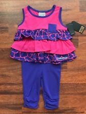 NEW CONVERSE PINK PURPLE RUFFLED TOP LEGGINGS OUTFIT SIZE AGE 12-18 18 MONTHS