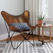 Brown Leather ARM Chair/Leather Butterfly Chair Home Decor - Presented by IHA