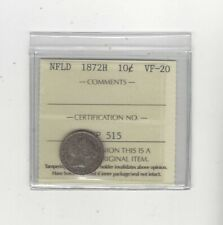1872H  Newfoundland ¢10 Cent, ICCS Graded**VF-20**