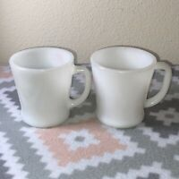 2 VINTAGE WHITE MILK GLASS ANCHOR HOCKING FIRE KING CUPS MUGS #3 & #26