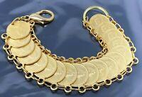 """Vintage  Elizabeth II Coin Gold tone Bracelet 7"""""""