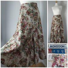 Monsoon Vintage Linen Curtain Flippy floral Arty Boho Country Midi Skirt 8 10