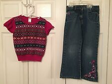 GYMBOREE PRETTY IN PLUM FLORA EMBROIDERED JEANS & SWEATER - SIZE 6/7