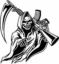 Grim Reaper Machine Gun Hunt Skull Car Truck Window Laptop Vinyl Decal Sticker