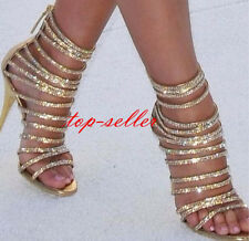 Women's Gold Open Toe Shoes Gladiator High Heel Dimaond Pumps Roma Sandals New