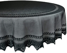 "DII 70"" Round Polyester Lace Tablecloth, Black Nordic - Perfect for Halloween,"