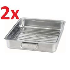 2x IKEA KONCIS Stainless Steel Roasting Tin Baking Pan Tray 40x32cm W Grill Rack