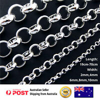 925 Sterling Silver Necklace Chain Bracelet Anklet S/F Mens Ladies Solid Belcher