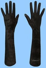 NEW WOMENS size 7 GENUINE EXTRA LONG BLACK SUEDE LEATHER GLOVES-SILK LINING
