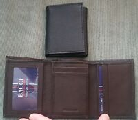 Mens Bacci RFID Blocking Security GENUINE LEATHER Black Brown Trifold ID Wallet