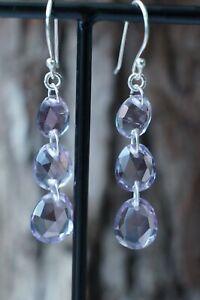 African Amethyst Triple Drop Fine Sterling Silver Earrings 2 inch Drop Silver