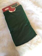Christmas Trim A Home Glitter Dark Green White Fur Trim Tree Skirt 48 in
