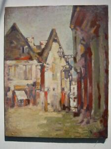 Impressionismus, Abstrakt, Stadt, Landschaft, Gassen Ansicht,Öl/Leinwand, alt