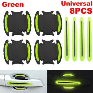 8pcs Green Universal Reflective Warning Car Door Handle Bowl Protector Stickers