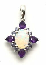 Sterling Silver 925 Oval White Opal / Pear Purple Amethyst Star Flower Pendant