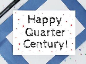 funny 25th birthday card - happy quarter century card - maths card - clever card