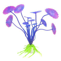 Decoration Plastic Simulated Sea Plants Flora for Aquarium Fish Tank purple B3L5