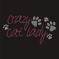 Crazy Cat Lady Iron On Hotfix Crystal Diamante T Shirt Motif Patch Gem