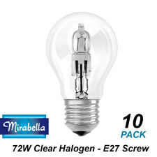 10 x 72W Clear GLS Halogen Light Globes Bulbs Screw Cap E27 Mirabella 72W=100W