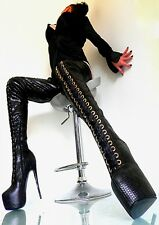 BOOTS ITALY HIGH HEELS OVERKNEE STIEFEL STRETCH LEATHERETTE SCHWARZ 38 39 40