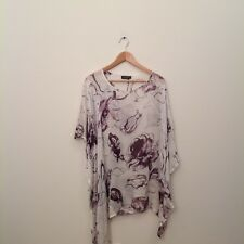 ESKANDAR Blouse Top O/S White Multi Color Floral Print 100% Silk Asymmetrical