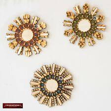 "Set 3 Decorative Small Wall Mirrors 9.8"" Wall decor - Peru Mirror with gold leaf"