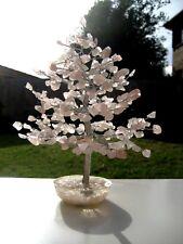 Large 300-Leaf Rose Quartz LOVE Crystal Bonsai 22cm Gemstone Tree Orgone Base