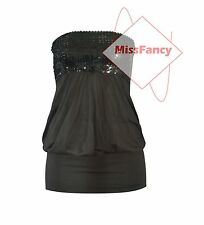Black Sequin Top Boob Tube Style Party Club Strapless Tops SMALL 6/8